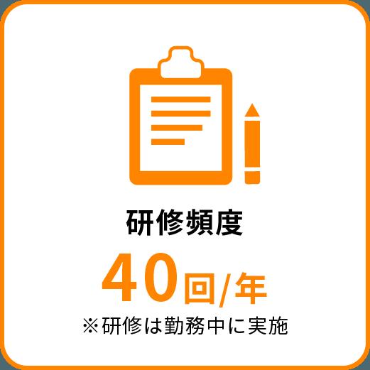 研修頻度40回/年※研修は勤務中に実施